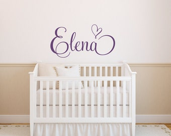 Name Wall Decal Heart Decal - Monogram Decal Nursery Monogram Decal - Girls Name Wall Decal - Vinyl Lettering Wall Art - Heart Sticker
