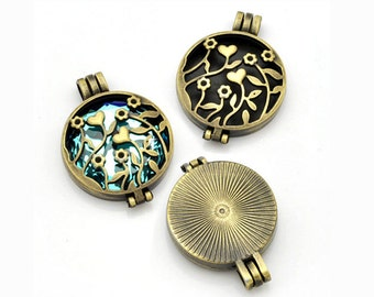 Steampunk Locket - Antique Bronze Perfume Locket - Perfume Diffuser Locket - Essential Oil Diffuser - flower engraved filigree (YT0013)