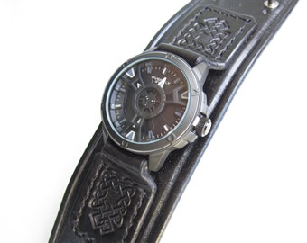 Black Watch cuff, Handmade Watch Strap