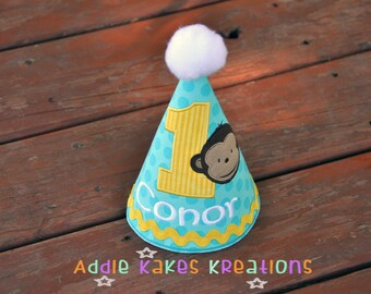 Monkey Party Hat - Boys Party Hat - Personalized Party Hat - First Birthday Hat - Photo Prop - Birthday Photos - Monkey Party