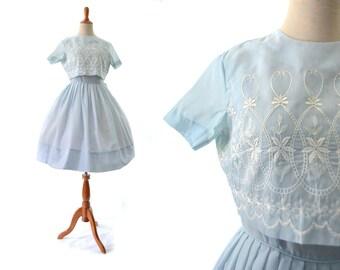 1950s Dress, 50s Dress, Blue Dress, Summer Dress, Cotton Dress, XS Dress, Small Dress, Size 0 Dress