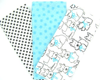 Puppy Dogs, Polka Dots and Aqua Matching Flannel Fat Quarter Bundle 3 Pack