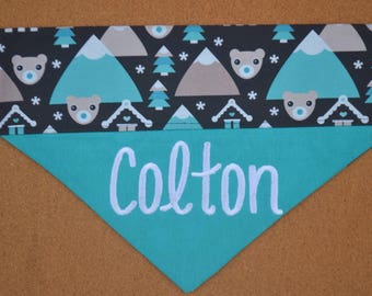 Snow Bears ~ Personalized ~ Over The Collar Dog Bandana