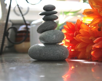 Stone Cairn, Beach Stone Decor, Stackable Rock Cairn, Beach Souvenirs, Rough Stones, Spiritual Gifts, Meditation Gifts, Yoga Teacher Gift