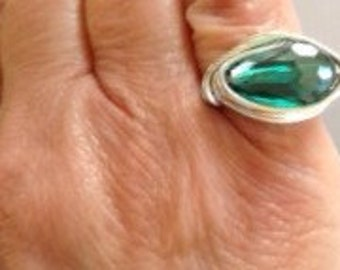 Silver Wire Wrapped Ring w/Green Stone