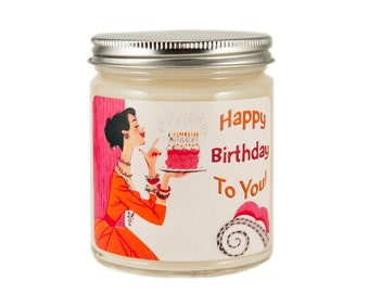 Birthday Candle, Custom Scented Candle, Happy Birthday Candle, Container Candle, Soy Candle, Vintage Birthday Candle, Birthday Gift