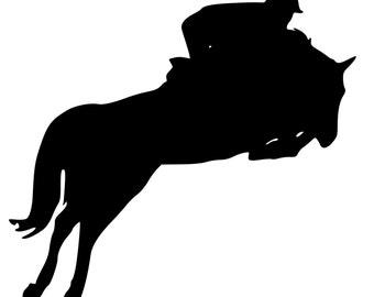 Horse English eventing-Jumping Horse wall decal, Horse sticker 28 inches x 27 inches. 261-HS