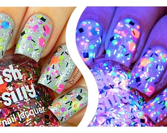 TGIF (neon):  Custom-Blended NEON Glitter Nail Polish / Lacquer/ indie polish