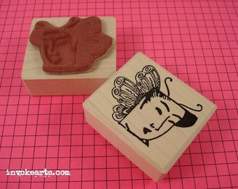 Geisha Butterfly Stamp / Invoke Arts Collage Rubber Stamps