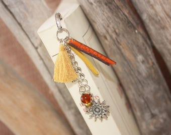 Yellow & orange customize tassel bookmark