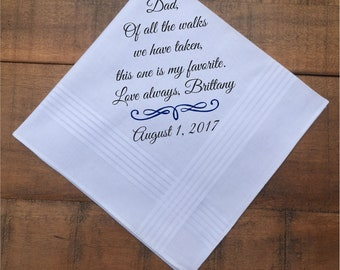 Father of the Bride Gift, From Bride, Wedding Handkerchief, Father of the Groom Gift, From Groom, Wedding Gift, PRINTED hankerchief (H 031)