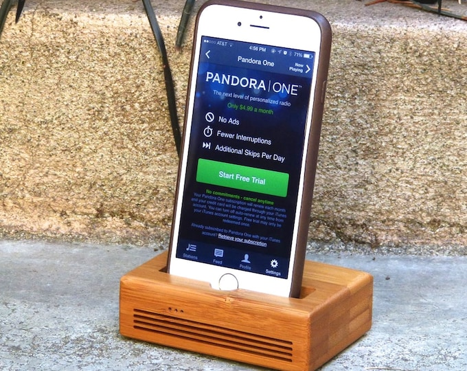 iPhone Docking Station - CONCERT model  in Bamboo – Use With or Without a Cover - Booss the Sound
