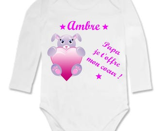 Daddy baby Bodysuit I offer you my heart personalized with name