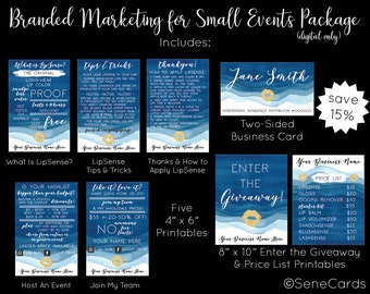SeneGence Branded Marketing for Small Events Package, SeneGence Bundle LipSense Marketing Bundle, LipSense Marketing Package Blue Watercolor