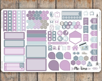 106 Solid Sticker A5 & Bound FLEX SAMPLER | Banner, Hexagons, Boxes, Icons, Flags and More | for 2018 inkWELL Press Planners IWP-L12