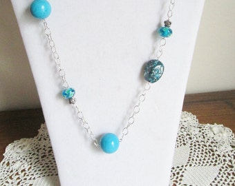 Turquoise Magnesite Beads on Silver Chain Necklace, Czech Glass Beads on Silver Necklace with Matching Earrings, Turquoise Necklace, OOAK