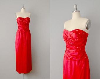 50s Dress // 1950's Red Silk Satin Strapless dress w/ Rhinestones & Bustle // S-M