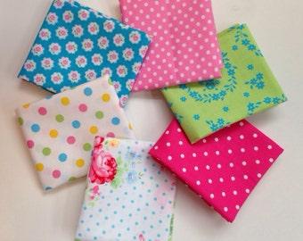 Pre-Cut Fabric Bundle: Six Fat 8ths Japanese Cotton Fabrics, Flower Sugar, Lecien, Quilt Gate, Color Basics
