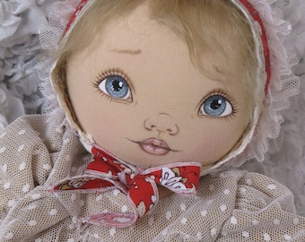 "SALE! IRINA 21"" OOAK cloth baby doll, fabric doll, soft doll, home decor, mohair wig, handmade doll by Fiorenza Biancheri"