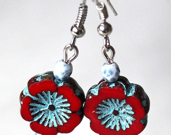 Red and Blue Flower Earrings
