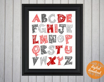Alphabet Nursery Decor - red and gray - Art for Your Baby Room