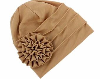 Khaki Brown Fashion Stretch Hat Turban, Khaki with Rose Head Cover, Women Beanie Cap