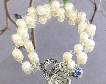 Double strand freshwater pearl bracelet