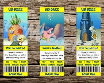 Spongebob Birthday Invitations Party Movie Ticket