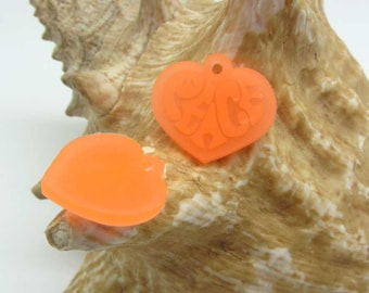 Set of 4 charms Peace Silicone Orange neon-20 * 23 mm