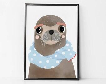 seal animal, seal animal print, seal wall art, seal wall decor, seal baby, print seal, seal art, seal room decor, art nursery, seal gift