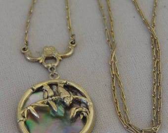 Vintage ABALONE & Brass Lovebirds Necklace