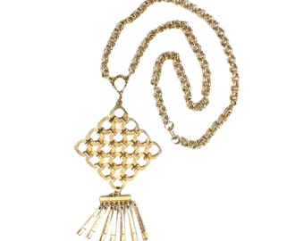 Vintage 1970's Chain Necklace with Geometric Pendant