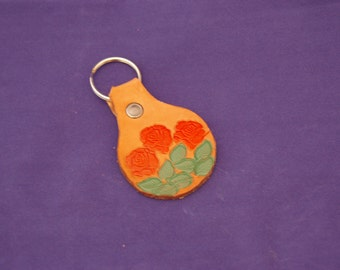 Three Roses Leather Keychain
