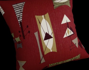 Retro Tiki Pillow Cover - Crimson Mambo Chris Stone Repro Barkcloth - Many sizes available