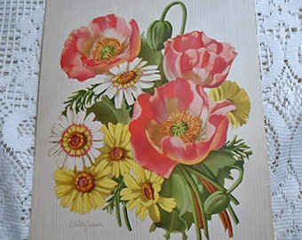 Lovely POPPIES & DAISIES Litho Print, Spring White Yellow Pink Blooms Floral Bouquet Green Buds, 1950s Botanical Art, Barkcloth Era 9 x 12