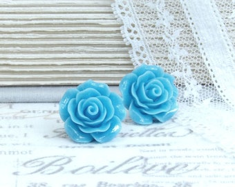 Blue Rose Studs Large Rose Earrings Sky Blue Earrings Blue Flower Earrings Surgical Steel Studs