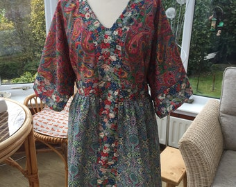 Hand made Liberty lawn floral dress size UK 10-16