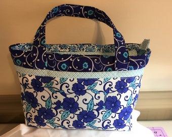 Electric Blue Clematis Pocketbook, Purse, Bag