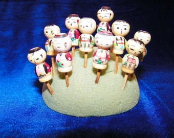 10 Wood KOKESHI Japanese Birthday Candle Holders