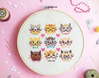 Cats Cross stitch pattern, funny cross stitch, modern cross stitch, counted cross stitch sampler, xstitch pattern -  I Love Cats