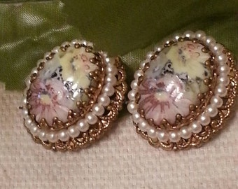 Cameo Floral Porcelain Clip On Earrings,  SALE Made In Germany, Gold Intricate Detail Setting, Pearl Accents