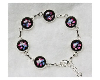 Pet Memorial or Remembrance Silver Link Bracelet Black Settings with Rainbow Colors Paw Prints