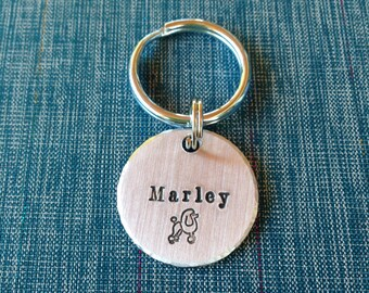 Custom Name with Poodle- Custom Pet ID Tag - Handstamped aluminum - Dog ID Tag - Cat ID Tag - Name and Phone Number - Small, Medium, Large