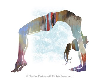 "Yoga Art, ""UPWARD BOW POSE - Moon Colors, small,  Yoga Wall Art, Yoga Pose, Yoga Artwork, Yoga Print, Giclée, Contemporary Yoga Art"