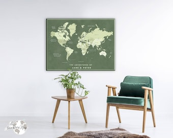 World map push pin / World map canvas / Personalized World Map / Push Pin map / Travel map