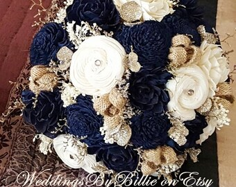 Navy blue bouquet etsy navy blue sola bouquet mightylinksfo