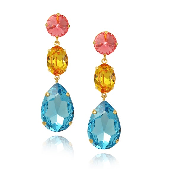 Triple Drop Crystal Earrings in Bahamas