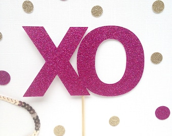 Xo Glitter Cake Topper - Valentines Day Decor - Engagment Party - Wedding - Glitter - Be Mine - sweetie - bridal shower