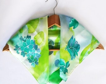 Hand painted silk scarf, Green and Blue silk scarf, Small neck scarf, Hand dyes silk scarf, Gift for her Ana Silk Design, most popular item
