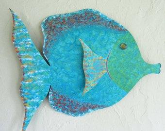 Large Fish Bathroom Art Metal Wall Art Tropical Fish Sculpture Bathroom beach House Coastal Decor Aqua Blue  Recycled Metal Wall Art 18 x 19